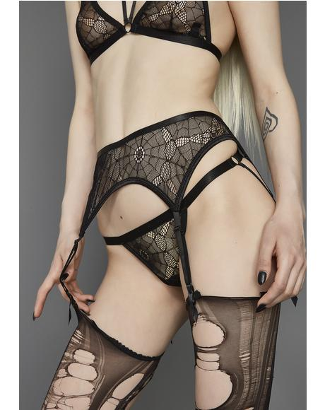 The Darkness Web Mesh Garter Belt