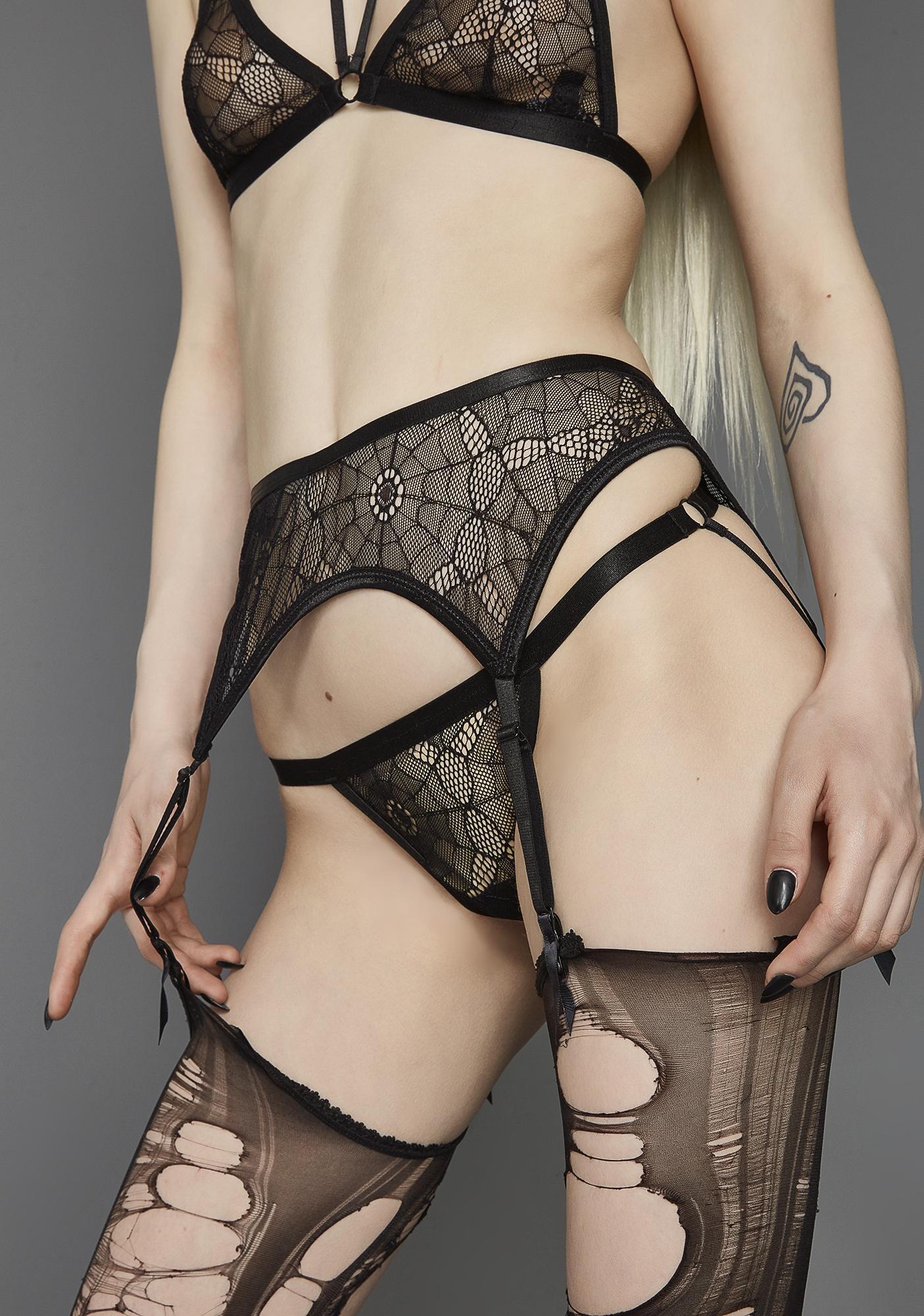 Widow The Darkness Web Mesh Garter Belt