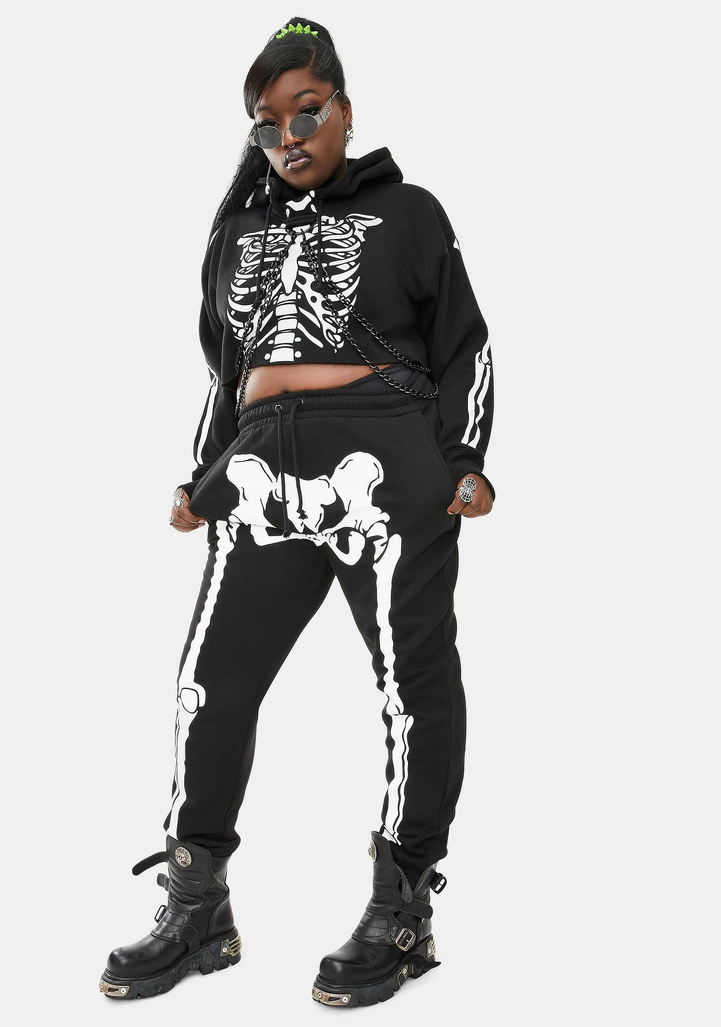 Dolls Kill We'll Wake The Dead Skeleton Joggers