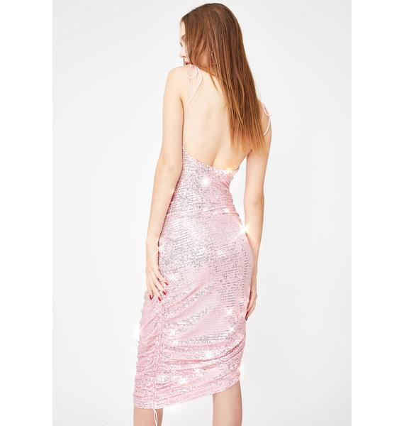 Lioness Pink String Along Ruched Mini Dress