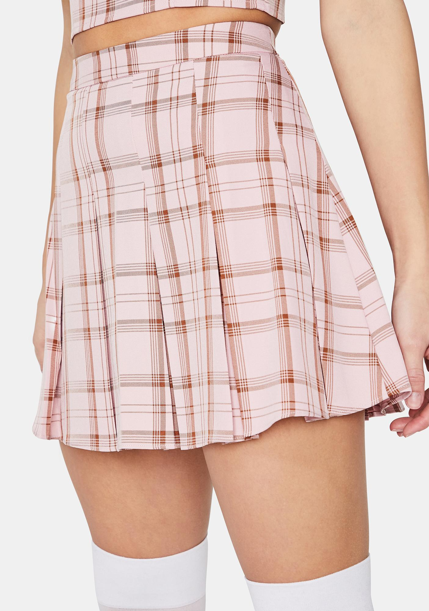 Blush Passion First Plaid Pleated Skirt