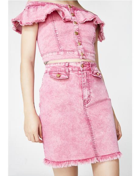 Pink Heart Denim Skirt