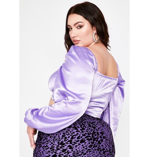 Lavender Bae U Make Me Wanna Satin Top