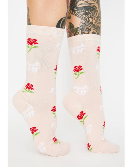 F Off Rose Crew Socks