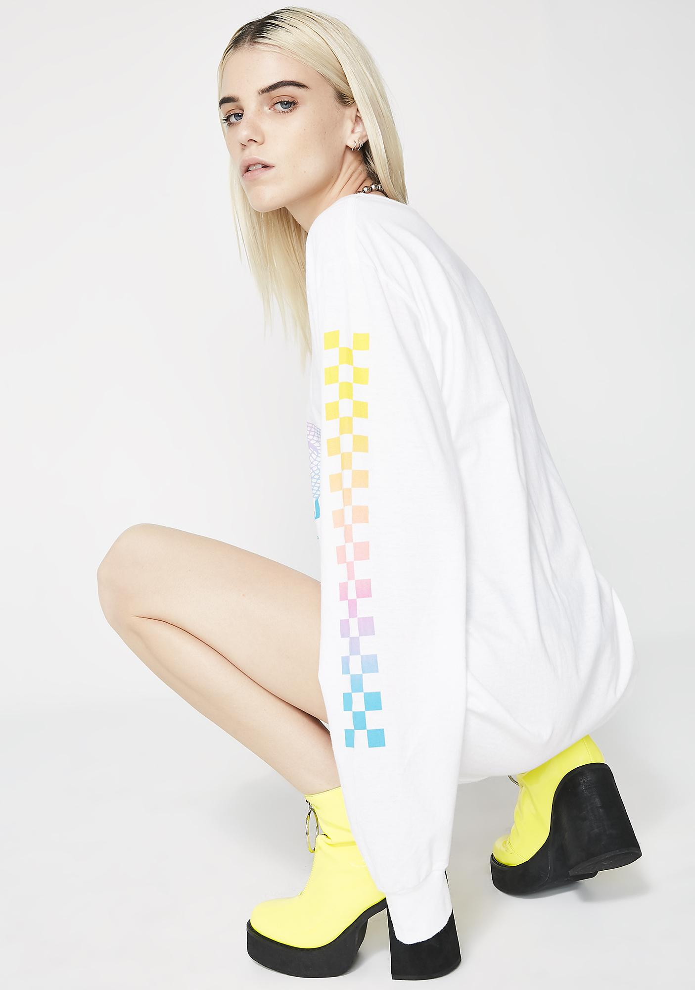 Moon River Collective Grid Life Long Sleeve Tee