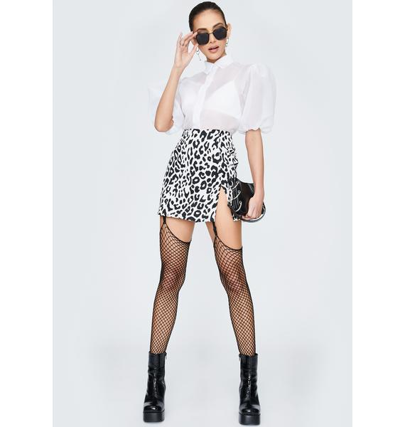 Motel Mono Leopard Pelmet Mini Skirt
