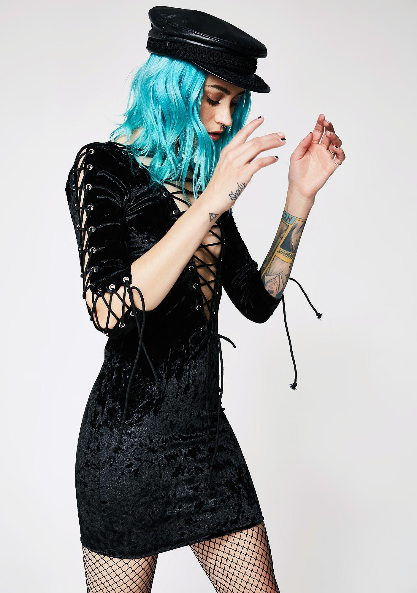 Current Mood Velvet Crushin' Lace-Up Dress