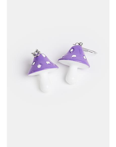 Gem Down The Rabbit Hole Mushroom Earrings