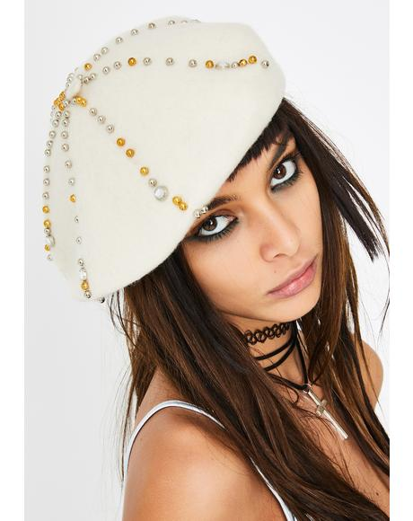 Ivory True Wish Jeweled Beret