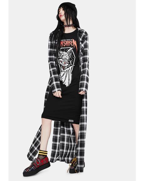 Forsaken Long Sleeve Graphic Dress