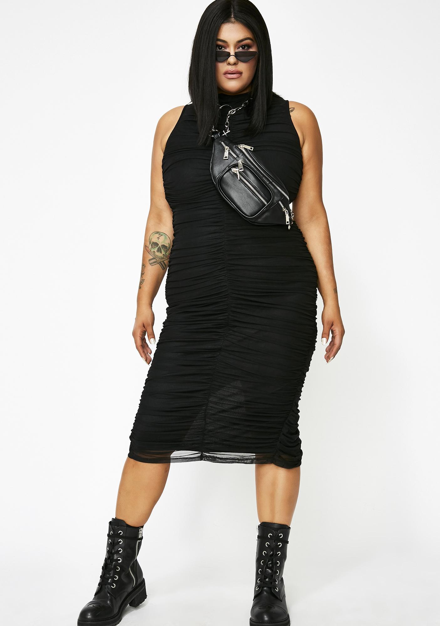No Small Talk Ruched Dress