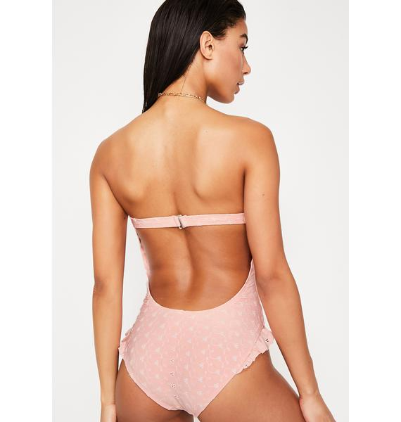Dippin' Daisy's Ruffle Leg Open Back Cheek One Piece Bikini