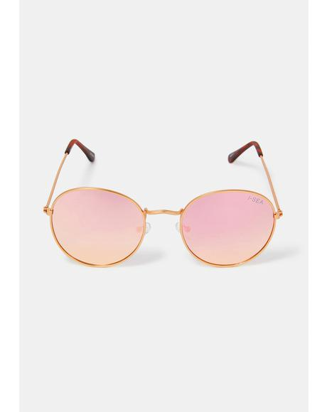 Rose Gold London Round Polarized Sunglasses