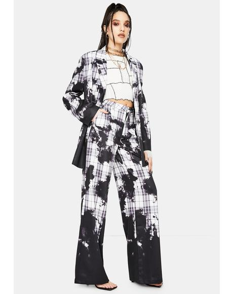 Bleach Check Relaxed Wide Leg Trousers