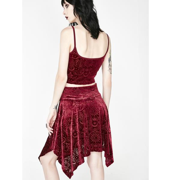 e0757a8b9c7d ... Killstar Wine Etta Burnout Velvet Skirt ...