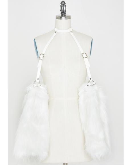 White Fur Sleeves Harness