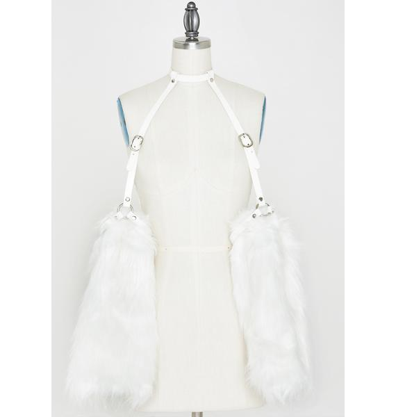 Devil666ish White Fur Sleeves Harness