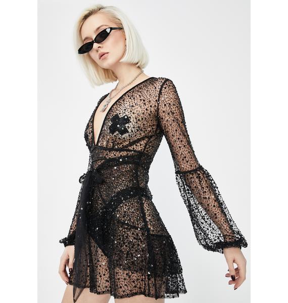 Dyspnea Darling Sequin Wrap Dress