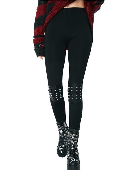 Death Metal Studded Leggings