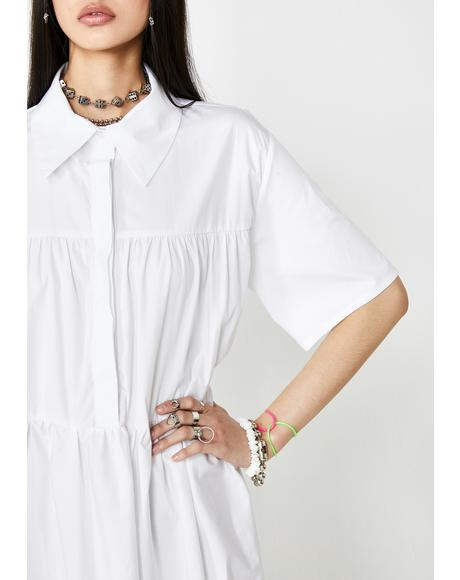 White Cotton Maxi Shirt Dress