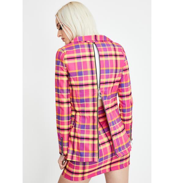 Strange Couture Candy Tartan Blazer