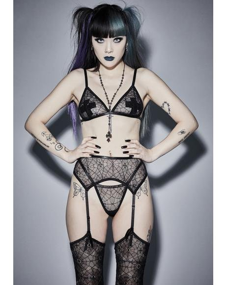 Night Crawler Lace Garter Set