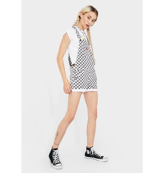 """Dickies Girl Checkered 3"""" Roll Hem Shortalls"""
