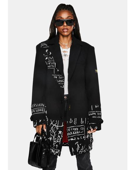 x Basquiat Wool Top Coat
