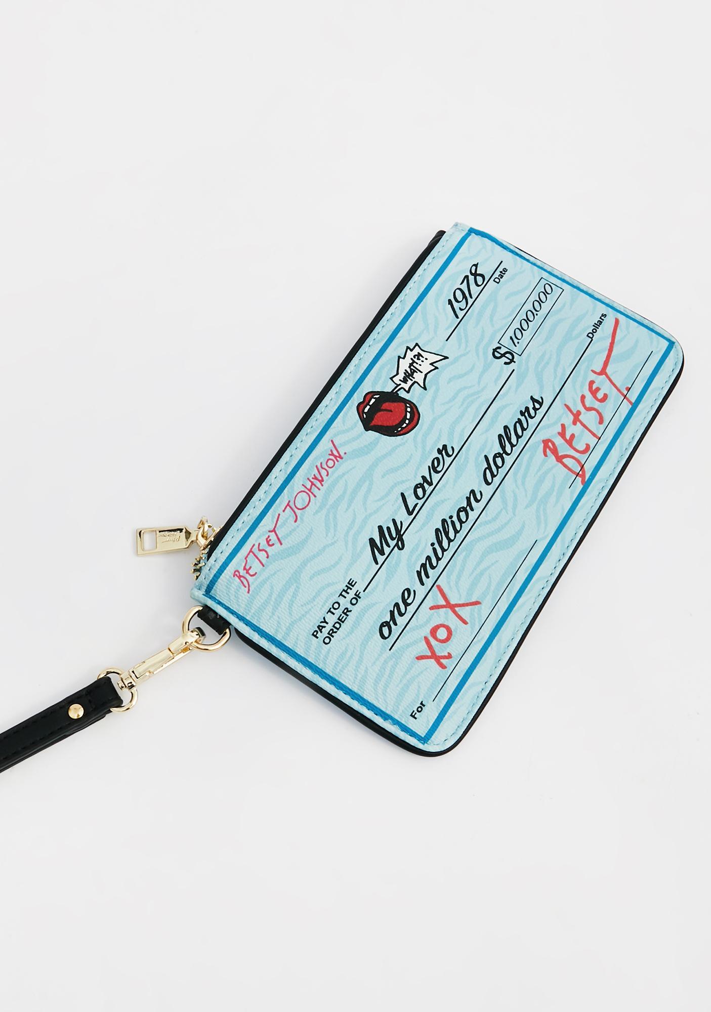 Betsey Johnson Check Me Out Wristlet Wallet