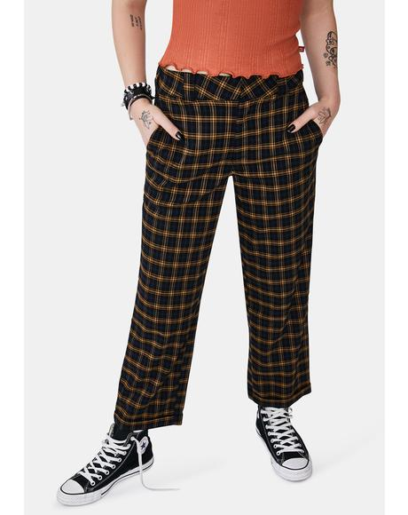 Plaid Work Crop Roll Hem Pants