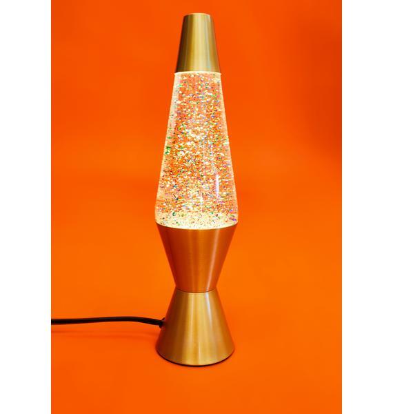 "LAVA Rainbow Glitter 14.5"" Gold Lava Lamp"