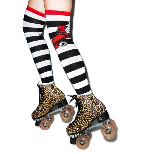 Sourpuss Clothing Over The Knee Flying Rollerskate Socks