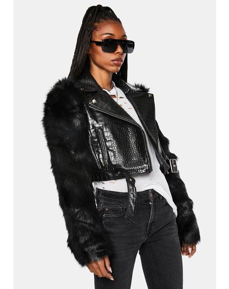 Nolla Faux Fur Croc Moto Jacket
