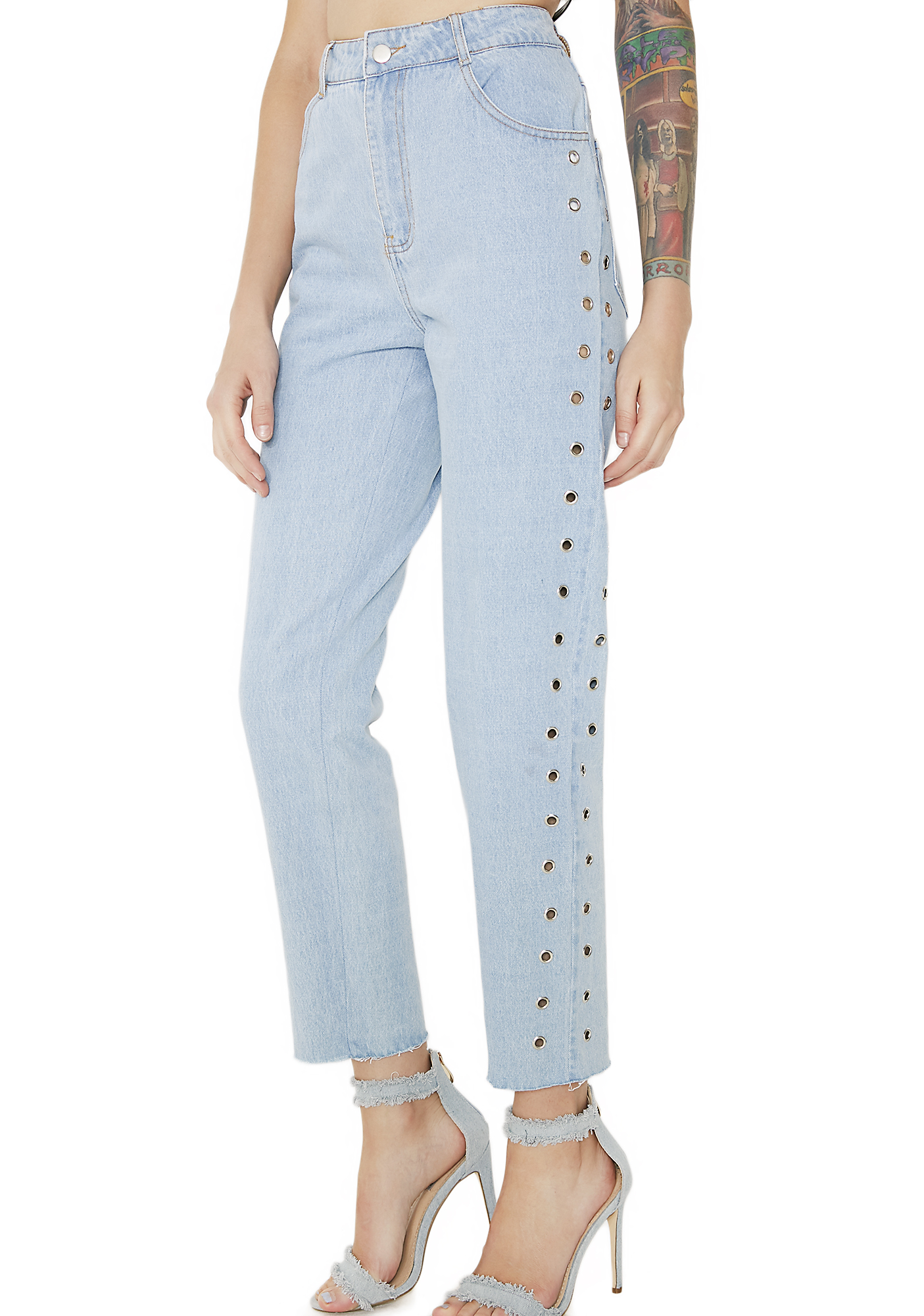High Waisted Denim Grommet Jeans