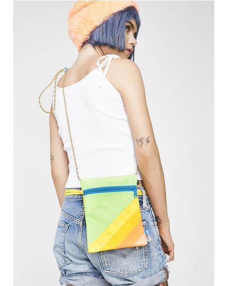 Yellow Green Nylon Crossbody Bag