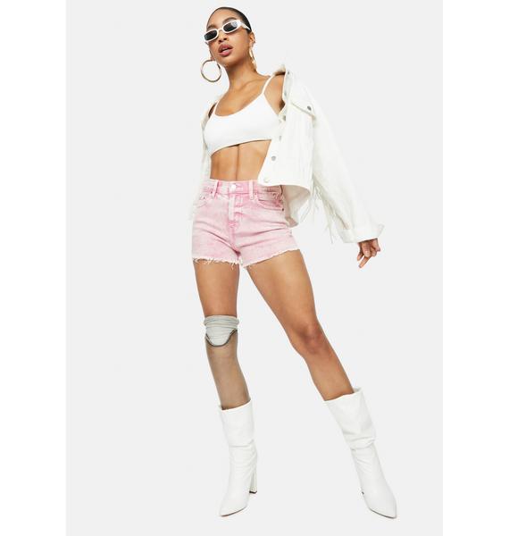 Daze Melrose Pink Troublemaker Distressed Denim Shorts