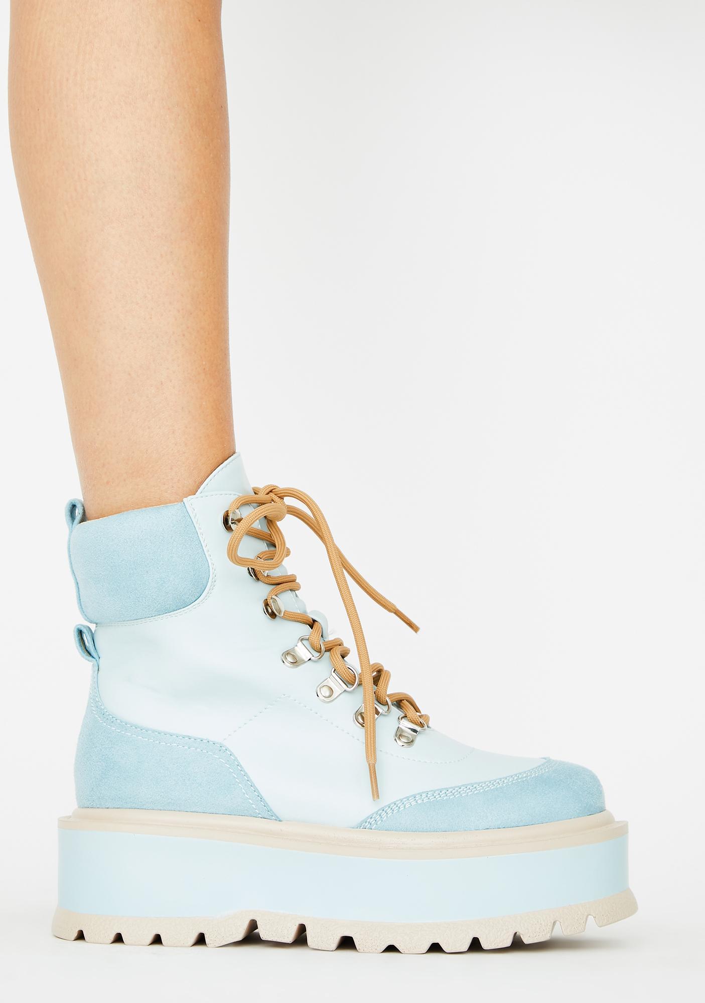 Koi Footwear Blue Hydra Matrix Platform Boots