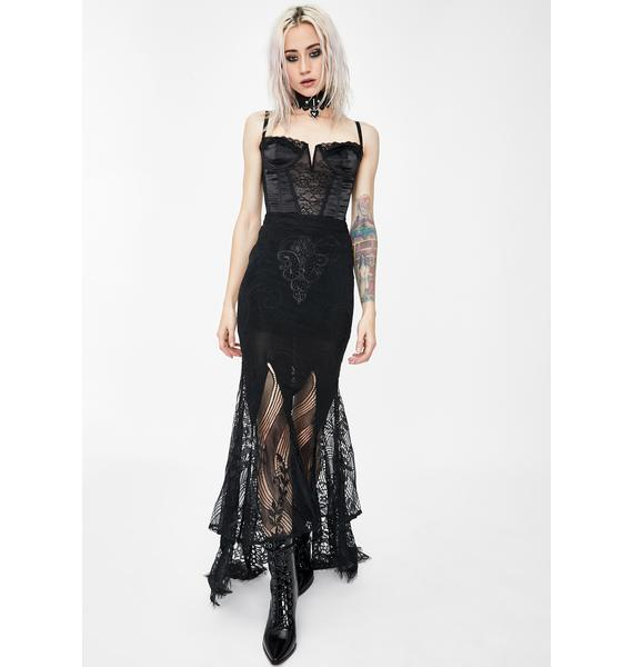 Dark In Love Lace Swallow Tail Maxi Skirt
