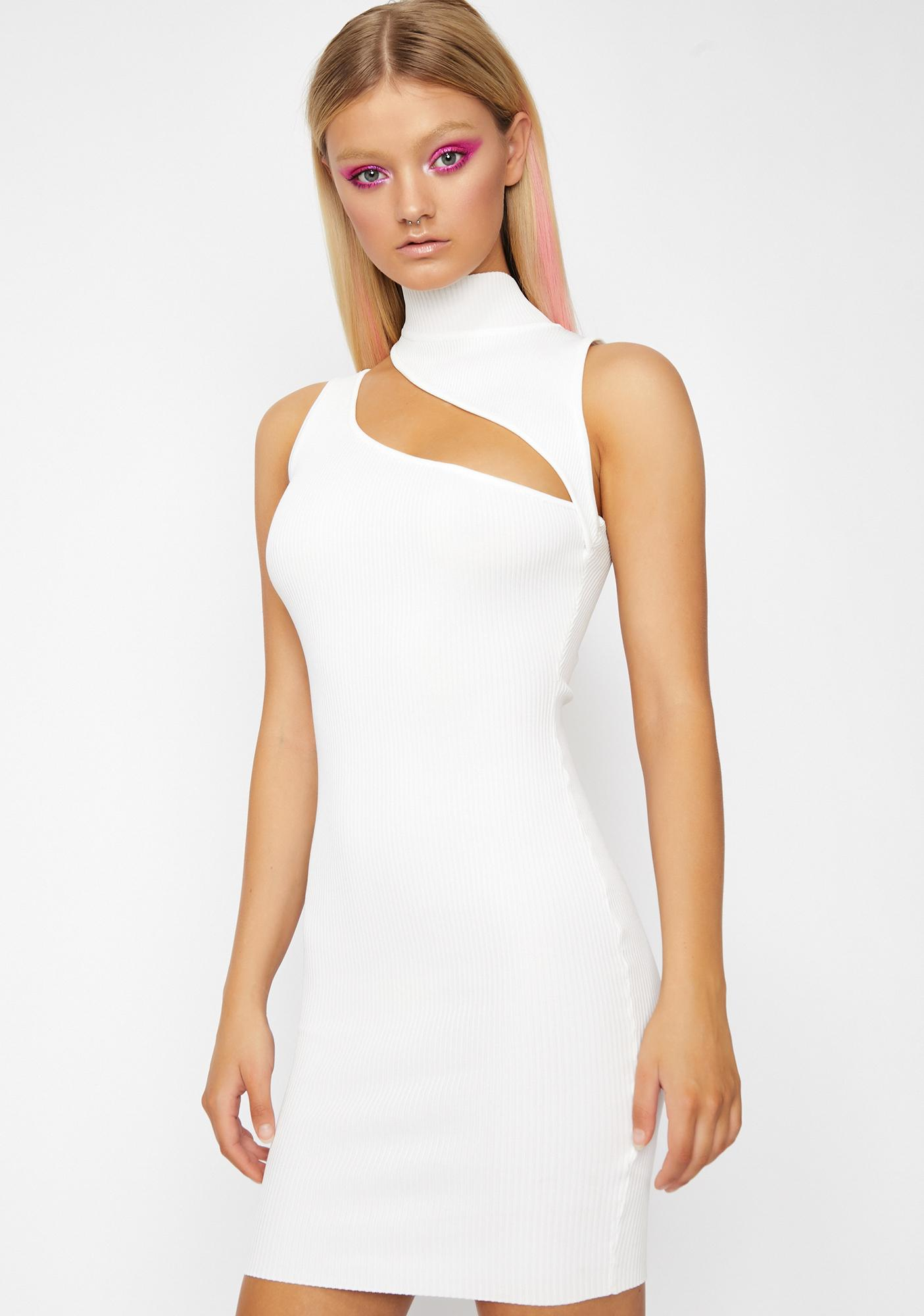 adc2670cdb Cut Out Dress Mini Mock Neck Ribbed White