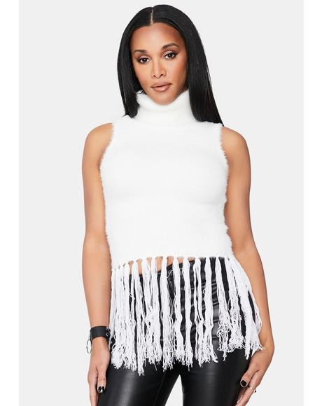 Ivory In Motion Fuzzy Fringe Top