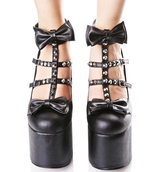 Demonia Hollow Heart Platform Heels