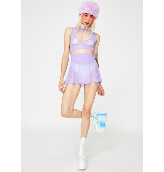J Valentine Lavender Mesh Keyhole Crop Top