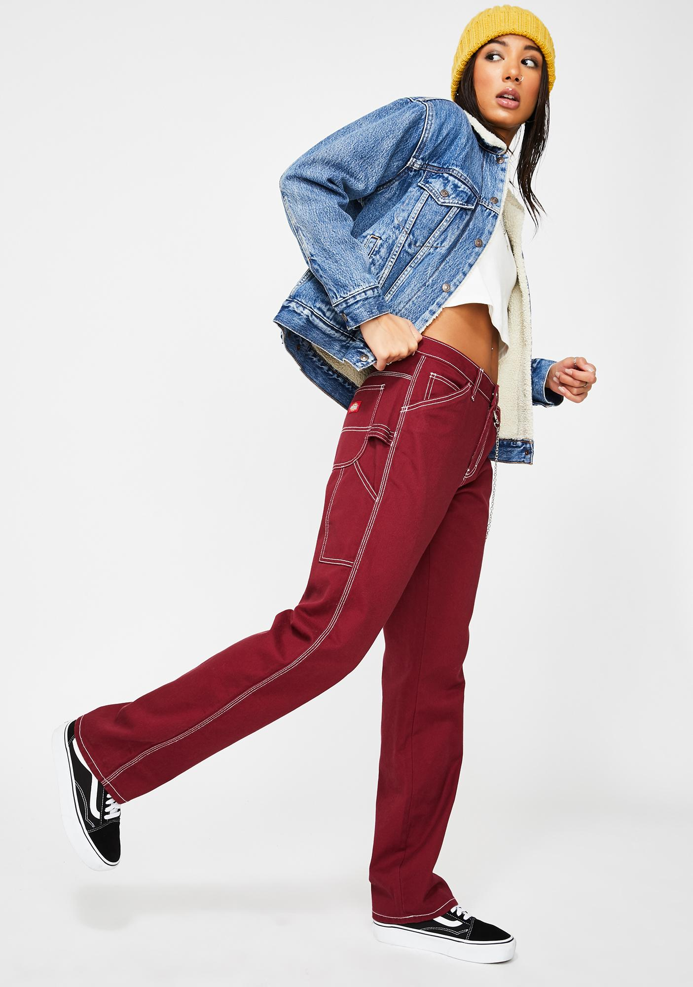 Dickies Girl Burgundy Carpenter Chain Pants