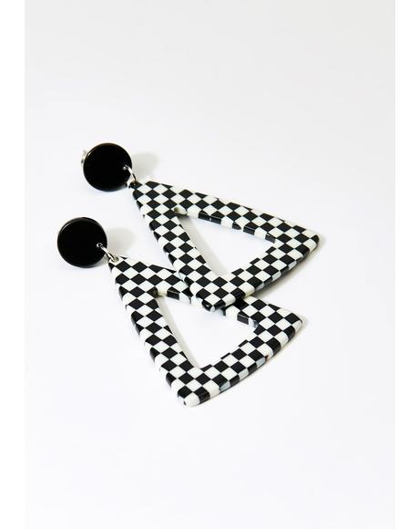 Do Not Tri Me Checkered Earrings