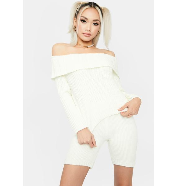 Ivory Luxe In Love Knit Biker Shorts
