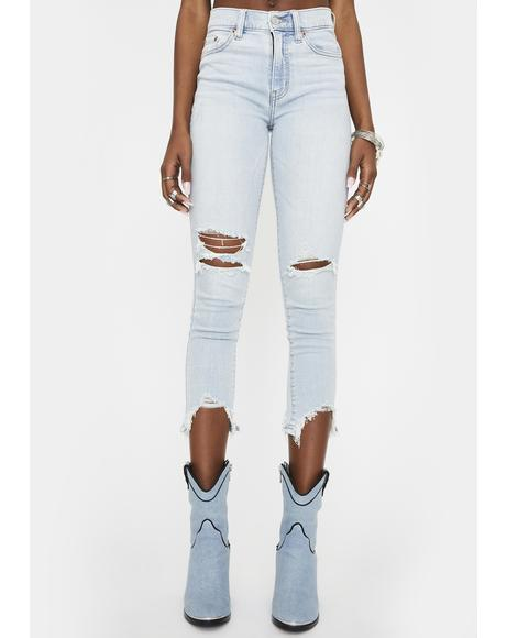 Call You Back Denim Crop Skinny Jeans