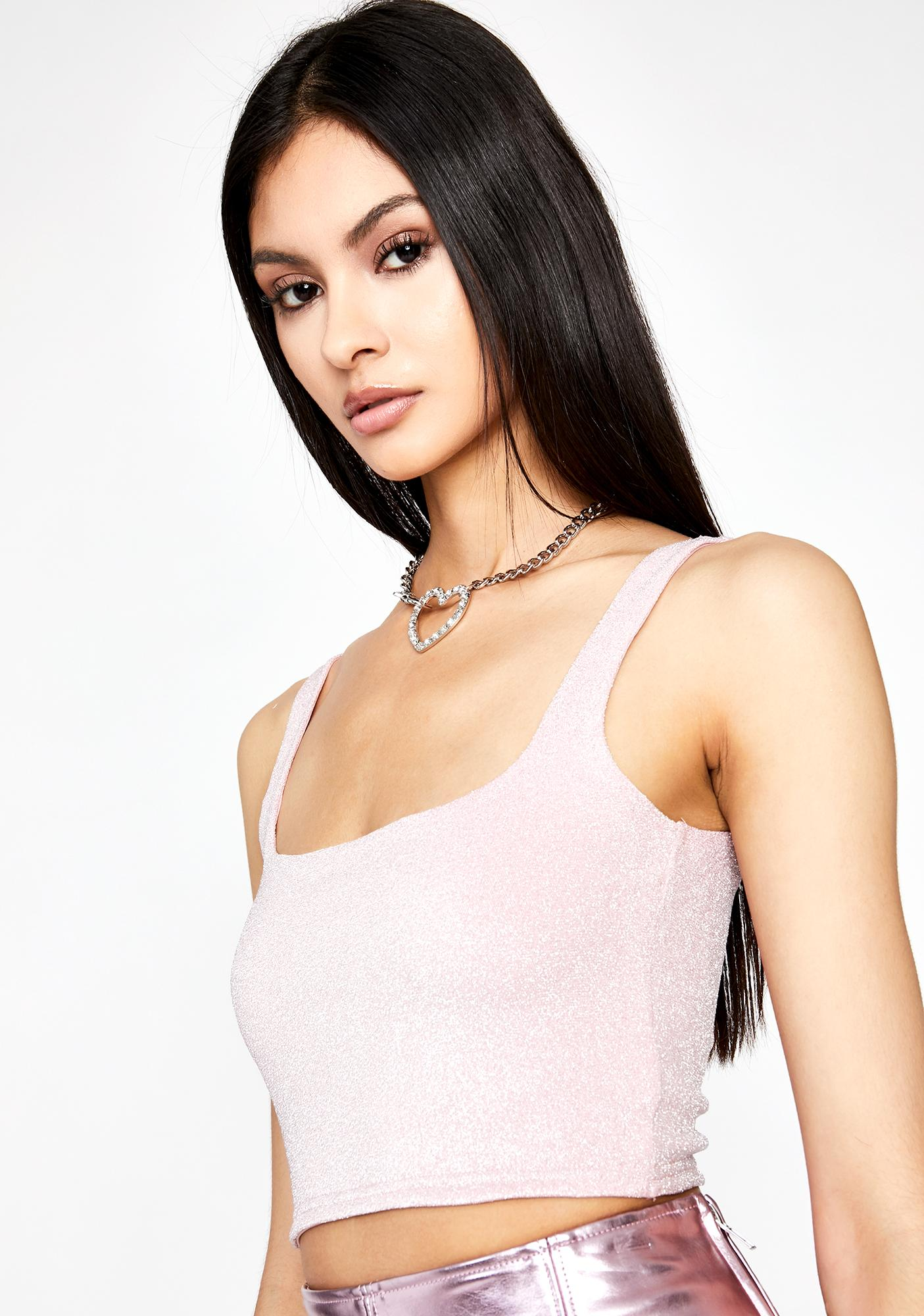 Credit Card Debt Metallic Crop Top