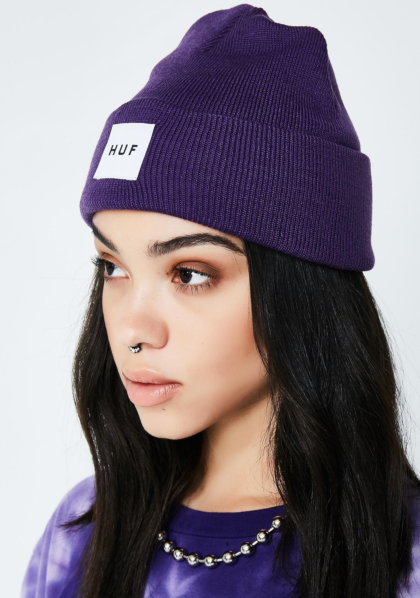 HUF Purple Box Logo Beanie