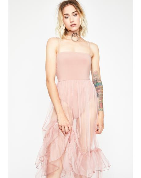 Mauve Defiant Love Tulle Maxi Dress