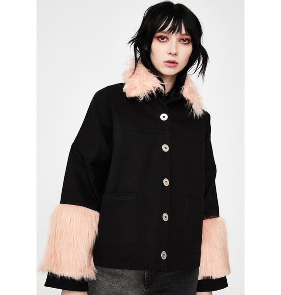 EastnWest Pink Fur Trim Denim Jacket